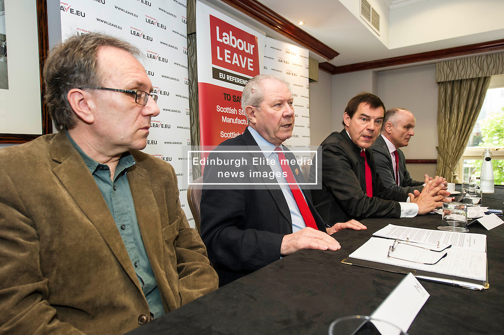 Pictured: Gary Parker, SNP activist, Jim Sillars, former SNP deputy leader, Nigel Griffiths, head of strategy for Labour Leave and Tom Burns, ASLEF member.<br /> <br /> Former UK trade minister Nigel Griffiths and former SNP deputy leader Jim Sillars were joined by Gary Parker, SNP activist and Tom Burns, ASLEF member as they spoke on the EU's negotiations with the United States for the Transatlantic Trade and Investment Partnership and the effect it could have on Scottish public services<br /> <br /> Ger Harley | EEm 30 May  2016
