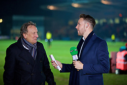 NEWPORT, WALES - Wednesday, December 21, 2016: Wales international Chris Gunter and Neil Warnock working for BT Sport as a pundit during the FA Cup 2nd Round Replay match between Newport County and Plymouth Argyle at Rodney Parade. (Pic by David Rawcliffe/Propaganda)