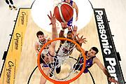 DSC-RX0M2 • 35 mm f/4.0<br /> f/4 • ISO 2000 • 1/640<br /> <br /> Tarczewski Kaleb Erick e Cinciarini Andrea <br /> A|X Armani Exchange Milano - Umana Reyer Venezia <br /> LBA Final Eight 2020 Zurich Connect - Semifinale<br /> Basket Serie A LBA 2019/2020<br /> Pesaro, Italia - 15 February 2020<br /> Foto Mattia Ozbot / CiamilloCastoria