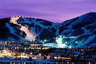 dusk at base of Park City Mountain Resort, Park City UT USA
