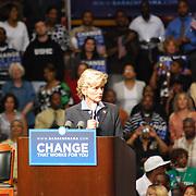 Jennifer Granholm at Barack Obama Rally Detroit 2008<br /> Michigan Governor, Jennifer Granholm, addresses the crowd at Barack Obama's rally at Joe Louis Arena on Monday, June 16, 2008 in Detroit, MI.