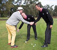ARNHEM - De golfpro's van de Rosendaelsche GC.  John Boerdonk (m)  en Menno Pelk  en Jan Dorrestein (l)  COPYRIGHT KOEN SUYK