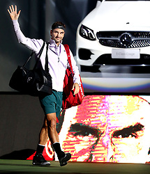 SHANGHAI, Oct. 14, 2017  Roger Federer of Switzerland greets spectators before the singles semifinal match against Juan Martin del Potro of Argentina at 2017 ATP Shanghai Masters tennis tournament in Shanghai, east China, on Oct. 14, 2017. (Credit Image: © Fan Jun/Xinhua via ZUMA Wire)