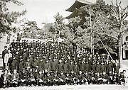 junior high students in uniform during train school trip 1958 Japan