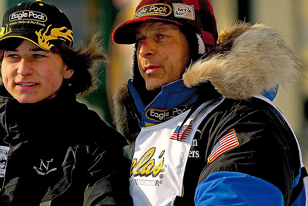 04 March 2006: Anchorage, Alaska - Four time champion and fastest race record holder, Martin Buser heads out at the Ceremonial Start in downtown Anchorage of the 2006 Iditarod Sled Dog Race
