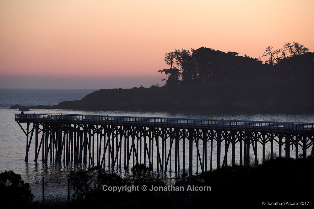 The San Simeon Pier is pictured at dusk