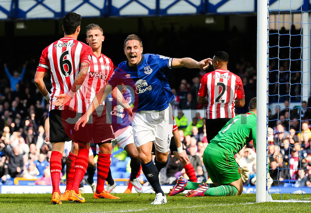 Everton's Phil Jagielka celebrates after scoring the opening goal  - Photo mandatory by-line: Matt McNulty/JMP - Mobile: 07966 386802 - 04/04/2015 - SPORT - Football - Liverpool - Goodison Park - Everton v Southampton - Barclays Premier League