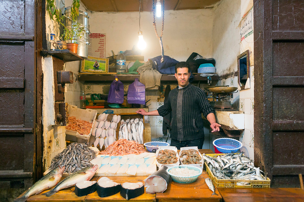 FEZ, MOROCCO - 5th MARCH 2016 - Portrait of a fishmonger market trader at a market stall in the old Fez Medina, Middle Atlas Mountains, Morocco.