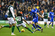 17 Ross McCrorie is pursued by 40 Stephane Omeonga during the Ladbrokes Scottish Premiership match between Hibernian and Rangers at Easter Road, Edinburgh, Scotland on 8 March 2019.