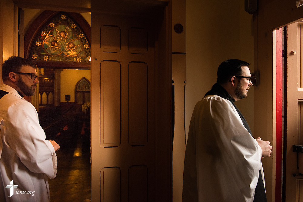 The Rev. Adam DeGroot, new national missionary and pastor at Shepherd of the City Lutheran Church, and the Rev. Robert Kieselowsky, executive director of Philadelphia Lutheran Ministries, waits for guests to arrive for Vespers at Logos Lutheran on Sunday, Nov. 1, 2015, in Philadelphia.  LCMS Communications/Erik M. Lunsford