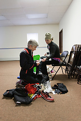 Joan Samuelson and daughter, Abby, prepare for race in elite athlete's holding area