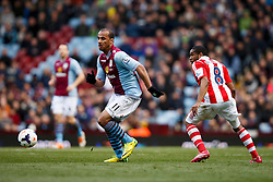 Aston Villa Forward Gabriel Agbonlahor (ENG) in action - Photo mandatory by-line: Rogan Thomson/JMP - 07966 386802 - 23/03/2014 - SPORT - FOOTBALL - Villa Park, Birmingham - Aston Villa v Stoke City - Barclays Premier League.