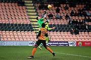 Barnet's goalkeeper Craig Ross clears with a punch during the EFL Sky Bet League 2 match between Barnet and Notts County at The Hive Stadium, London, England on 10 February 2018. Picture by Nigel Cole.