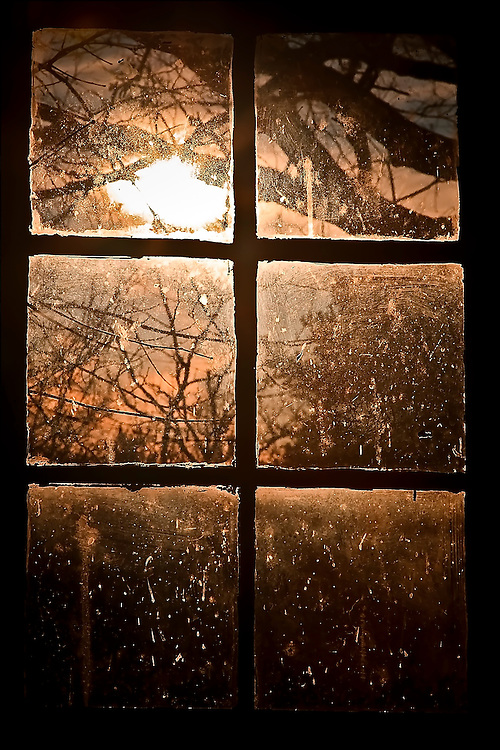 Afternoon sun filters through a frosted carraige house window, on Christmas Day in Washington Grove, MD.  Copyright 2007 Reid McNally.