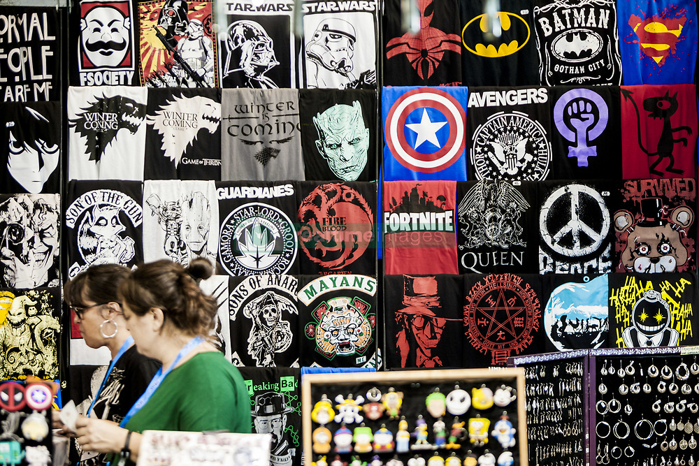 October 5, 2018 - Barcelona, Catalonia, Spain - Urban style t-shirts in the 21st tattoo and urban culture Expo in Barcelona, Spain, on 5 October 2018. (Credit Image: © Celestino Arce/NurPhoto/ZUMA Press)