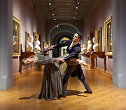 Northern Ballet dancers Hannah Bateman and Javier Torres, who will play the roles of Jane Eyre and Mr Rochester in Northern Ballet's new ballet, will pose in Room 24 at the National Portrait Gallery, the location of a special display Celebrating Charlotte Brontë: 1816 – 1855, which includes portraits of the famous literary family and treasures on loan from the Brontë Parsonage Museum, Haworth.<br /> <br /> National Portrait Gallery, London, Great Britain 20th April 2016<br /> <br /> On the eve of the 200th anniversary of Charlotte Brontë's birth, which falls on 21 April 2016, Northern Ballet has partnered with the National Portrait Gallery to bring two dancers from its upcoming World Première of Jane Eyre to London. <br /> <br /> <br /> <br /> Hannah Bateman and Javier Torres<br /> <br /> <br /> <br /> <br /> Photograph by Elliott Franks <br /> Image licensed to Elliott Franks Photography Services