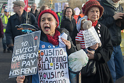 "London, January 30th 2016. Hundreds march from the Imperial War Museum through the streets of Lambeth to Downing Street demanding ""Kill The Housing Bill"". ///FOR LICENCING CONTACT: paul@pauldaveycreative.co.uk TEL:+44 (0) 7966 016 296 or +44 (0) 20 8969 6875. ©2015 Paul R Davey. All rights reserved."