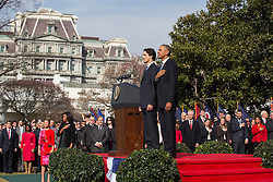 U.S. President Barack Obama (R) welcomes Prime Minister of Canada Justin Trudeau (L) at an arrival ceremony on the South Lawn of the White House, in Washington, DC, USA, 10 March 2016. This is the first official visit of Prime Minister of Canada Justin Trudeau to the White House. EXPA Pictures © 2016, PhotoCredit: EXPA/ Photoshot/ Jim Loscalzo<br /> <br /> *****ATTENTION - for AUT, SLO, CRO, SRB, BIH, MAZ, SUI only*****