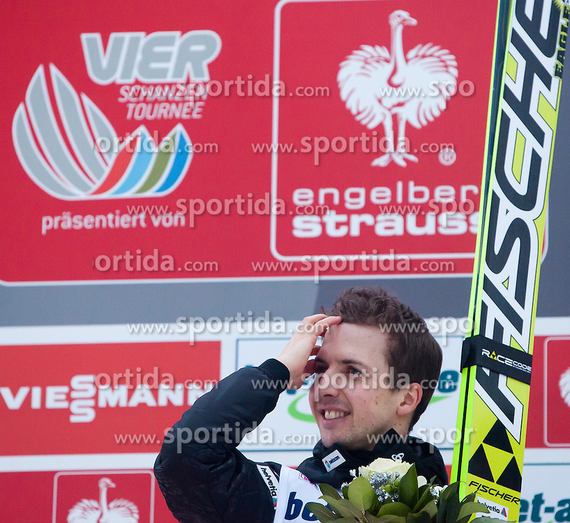 04.01.2014, Bergisel Schanze, Innsbruck, AUT, FIS Ski Sprung Weltcup, 62. Vierschanzentournee, Bewerb, im Bild Podium: zweitplatzierter Simon Ammann (SUI) // Podium: second placed Simon Ammann (SUI)  after Competition of 62nd Four Hills Tournament of FIS Ski Jumping World Cup at the Bergisel Schanze, Innsbruck, Austria on 2014/01/04. EXPA Pictures © 2014, PhotoCredit: EXPA/ JFK