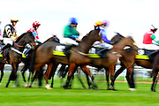 Horses and riders do tight circles at Aintree in Liverpool, England before the start of a hurdle race on November 21, 2010.