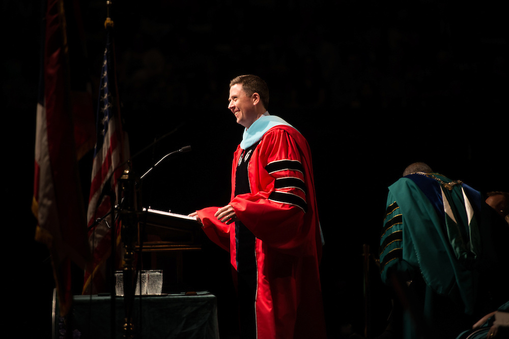 Vice President of Student Affairs Ryan Lombardi speaks during graduate commencement on Friday, May 3, 2013. Photo by Ben Siegel