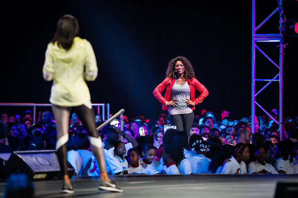 Serena Williams after her introduction by Allyson Felix at the 2013 Let's Move! event at Chicago's McCornick Place.