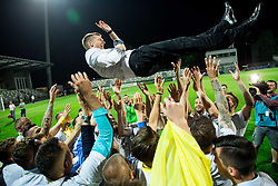 Players of NK Domzale celebrate with Simon Rozman, head coach of NK Domzale after winning during football match between NK Domzale and NK Olimpija Ljubljana in Final of Slovenian Cup 2017, on May 31, 2017 in Stadium Bonifika, Koper / Capodistria, Slovenia. Photo by Vid Ponikvar / Sportida