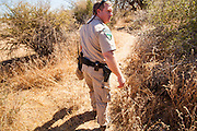 "03 MAY 2012 - VEKOL VALLEY, RURAL PINAL COUNTY, AZ:     Jon Young (CQ Jon), the BLM  Chief Ranger for Arizona, walks through a wash used by drug and immigrant smugglers on Bureau of Land Management land south of Interstate 8 and west of Casa Grande in rural Pinal County. The area has been a hotbed of illegal immigrant and drug smuggling for years. The BLM has undertaken a series of ""surges"" in the area, increasing their law enforcement patrols and partnering with Border Patrol and Pinal County Sheriff's Department officers to reduce criminal activity in the area.      PHOTO BY JACK KURTZ"