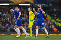 Football - 2018 / 2019 UEFA Europa League - Quarter-Final, Second Leg: Chelsea (1) vs. Slavia Prague (0)<br /> <br /> Chelsea's Olivier Giroud celebrates scoring his side's third goal, at Stamford Bridge.<br /> <br /> COLORSPORT/ASHLEY WESTERN
