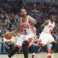 16 March 2012: Chicago Bulls power forward Carlos Boozer (5) is seen during the Portland Trail Blazers 100-89 victory over the Chicago Bulls at the United Center, Chicago, Illinois, USA.