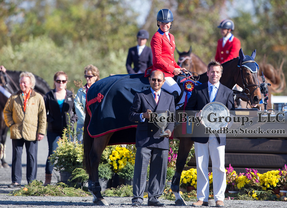 Jan Byyny (USA) and Inmidair, winner of the CCI3* with Tim Dutta and James Wolf at The Dutta Corp Fair Hill International in Fair Hill, Maryland.