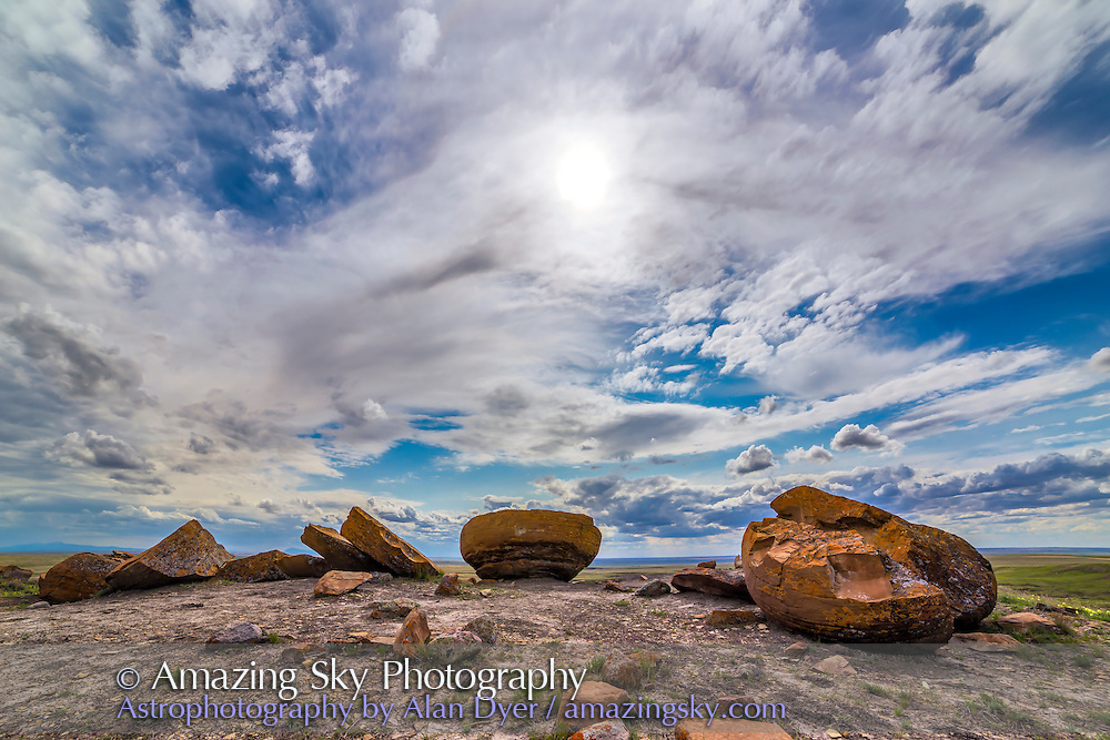 The sandstone concretions of Red Rock Coulee Natural Area, south of Medicine Hat, Alberta, in an HDR image composed of 9 images at 2/3rds stop intervals. Taken with the 14mm Rokinon lens and Canon 6D.