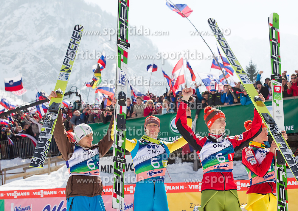 KRANJEC Robert of Slovenia, POGRAJC Andraz of Slovenia,  TEPES Jurij of Slovenia and PREVC Peter of Slovenia celebrate  after winning the Flying Hill Team Event at 3rd day of FIS Ski Jumping World Cup Finals Planica 2013, on March 23, 2013, in Planica, Slovenia. (Photo by Vid Ponikvar / Sportida.com)