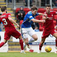 St Johnstone v Aberdeen…15.09.18…   McDiarmid Park     SPFL<br />Blair Alston gets between Graeme Shinnie and Max Lowe<br />Picture by Graeme Hart. <br />Copyright Perthshire Picture Agency<br />Tel: 01738 623350  Mobile: 07990 594431