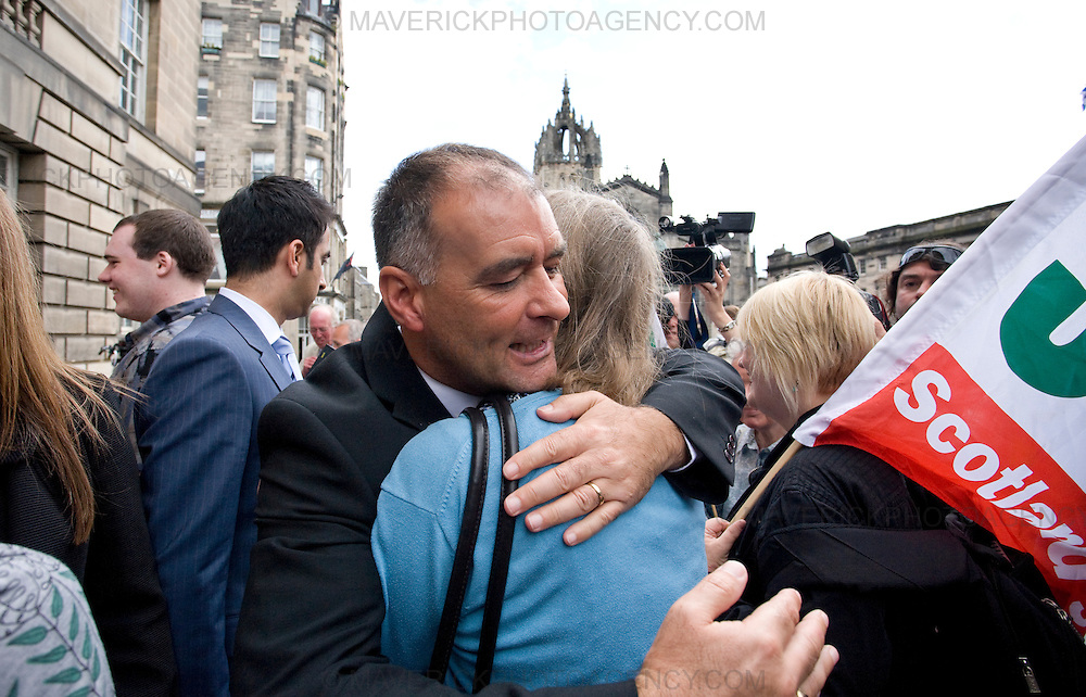Former Socialist MSP Tommy Sheridan and his wife Gail leave Edinburgh High Court where he is facing perjury charges...Tommy is congratulated by supporters...Picture Michael Hughes/Maverick.