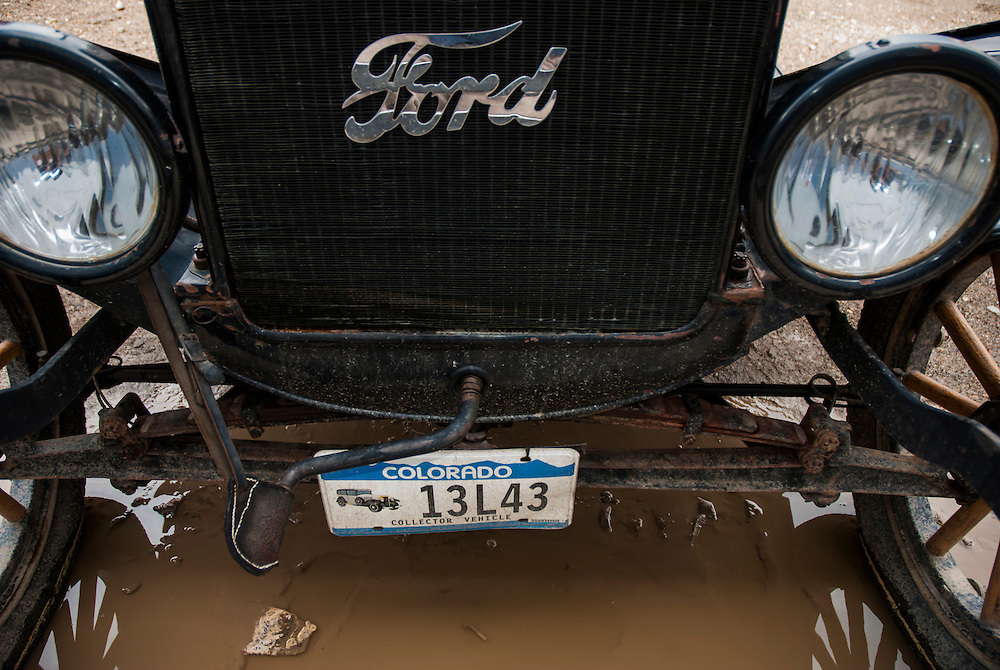 Vinatge Ford Model-T parked on one of Silverton's dirt streets.