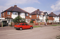 View of 1950s semidetached houses on housing estate in Nottingham,
