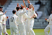 Lancashire's James Anderson celebrates taking the wicket of Somerset's Chris Rogers during the Specsavers County Champ Div 1 match between Somerset County Cricket Club and Lancashire County Cricket Club at the County Ground, Taunton, United Kingdom on 3 May 2016. Photo by Graham Hunt.