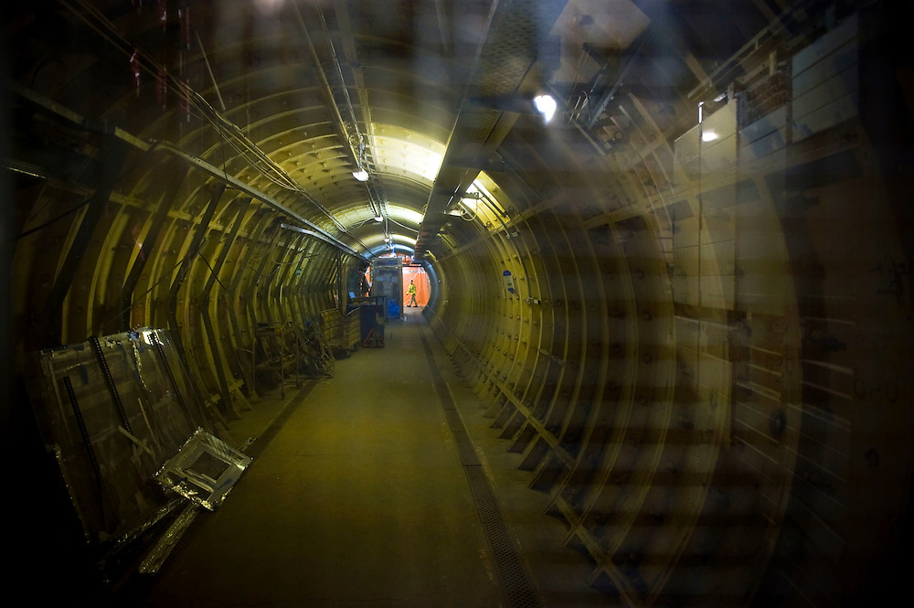 UK. London. British Telecom (BT) is selling some of its secret tunnels under the centre of London. The Kingsway Tunnels are 1 mile long and were originally built in 1940 as air raid shelters. They have been used by MI6 (Britain's secret service), the Public Records Office and BT..Photo by Steve Forrest