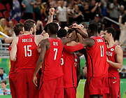 14th April 2018, Gold Coast Convention and Exhibition Centre, Gold Coast, Australia; Commonwealth Games day 10, Basketball, Mens semi final, New Zealand versus Canada; Canadian players celebrate their victory over New Zealand by 2 points