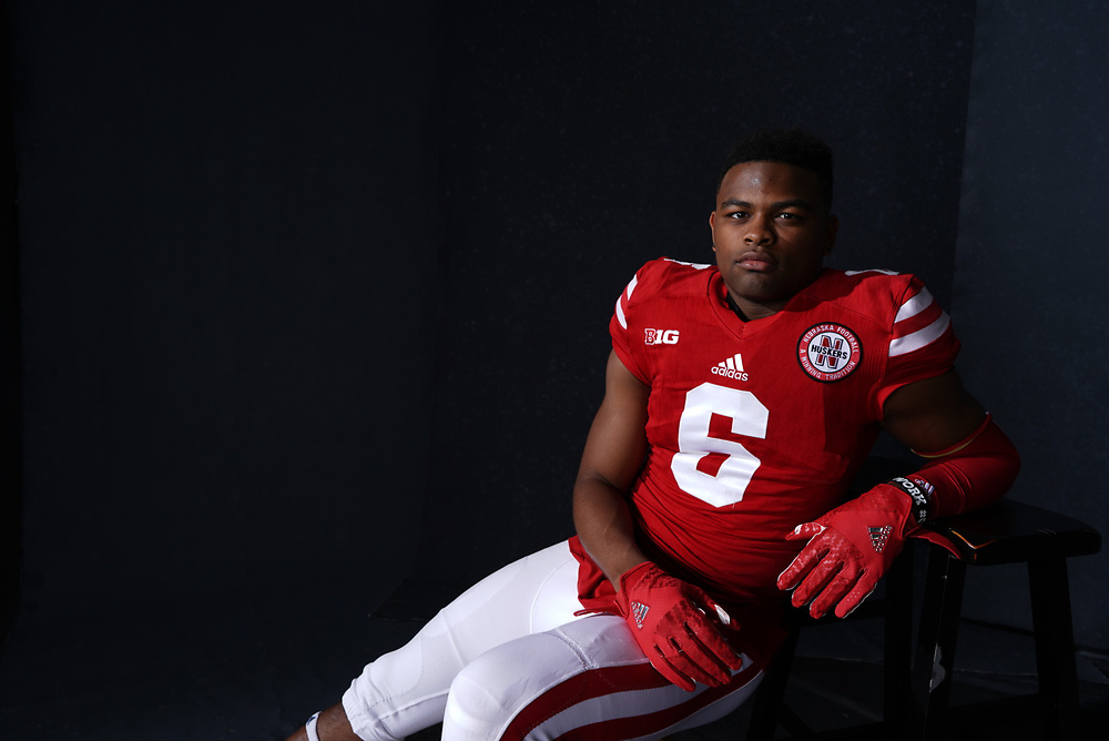 ERIC LEE JR. #6 during a portrait session at Memorial Stadium in Lincoln, Neb. on June 7, 2017. Photo by Paul Bellinger, Hail Varsity