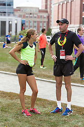 CVS Health Downtown 5k, USA 5k road championship, Mary Cain and coach Alberto Salazar consult prior to race
