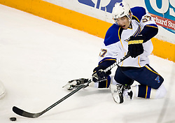 January 6, 2010; San Jose, CA, USA; St. Louis Blues left wing David Perron (57) during the second period against the San Jose Sharks at HP Pavilion. San Jose defeated St. Louis 2-1 in overtime. Mandatory Credit: Jason O. Watson / US PRESSWIRE