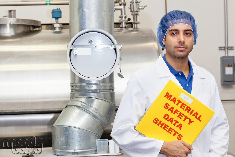 Portrait of industrial employee holding data sheets file