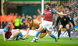 WOLVERHAMPTON, ENGLAND - Saturday, October 24, 2009: Aston Villa's Carlos Jimenez Cuellar tackles Wolverhampton Wanderers' Kevin Doyle during the Premiership match at Molineux. (Photo by David Rawcliffe/Propaganda)