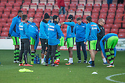 The FGR players take a drink break during the warm up during the Vanarama National League match between Wrexham FC and Forest Green Rovers at the Racecourse Ground, Wrexham, United Kingdom on 26 November 2016. Photo by Shane Healey.