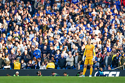 Joe Hart of Manchester City looks on dejected  in front of the Chelsea fans after Andre Schurrle of Chelsea scores against him - Photo mandatory by-line: Rogan Thomson/JMP - 07966 386802 - 21/08/2014 - SPORT - FOOTBALL - Manchester, England - Etihad Stadium - Manchester City v Chelsea FC - Barclays Premier League.