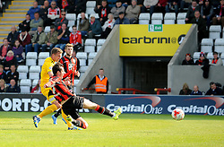 Lee Mansell of Bristol Rovers goes for goal - Mandatory byline: Neil Brookman/JMP - 07966 386802 - 03/10/2015 - FOOTBALL - Globe Arena - Morecambe, England - Morecambe FC v Bristol Rovers - Sky Bet League Two