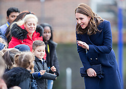 LONDON - UK - 10th Jan 2018. <br /> The Duchess of Cambridge visits the Reach Academy Feltham, South West London, a school working in partnership with Place2Be and other organisations to support children, families and the whole school community throughout their school career.<br /> Photograph by Ian Jones