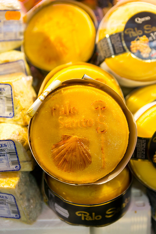 Close up of Palo Santo cheese for sale at a food market in Santiago de Compostela, Galicia, Spain.